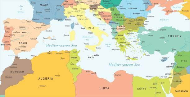 mediterranen meer karte - vektor-illustration - südeuropa stock-grafiken, -clipart, -cartoons und -symbole