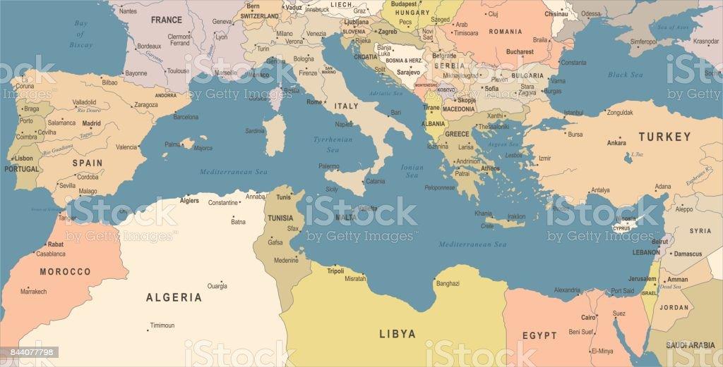 地中海海地圖-復古向量圖 - 免版稅保加利亞圖庫向量圖形