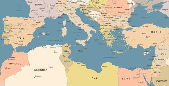 地中海海地圖復古向量圖向量圖形及更多保加利亞圖片