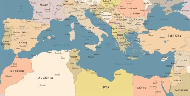 地中海海地圖-復古向量圖 - 阿爾及利亞 幅插畫檔、美工圖案、卡通及圖標