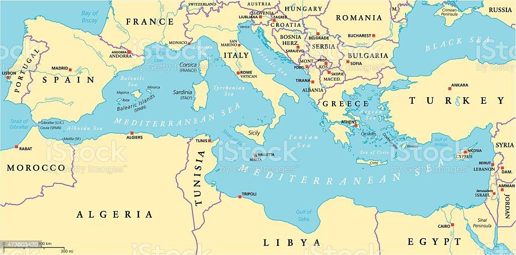 Mediterranean Sea Region Political Map vector art illustration