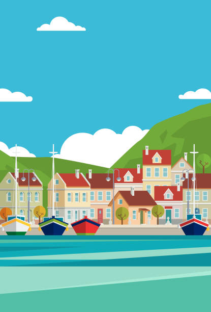 Mediterranean Sea Vector Marina illustration with yacht and houses. waterfront stock illustrations