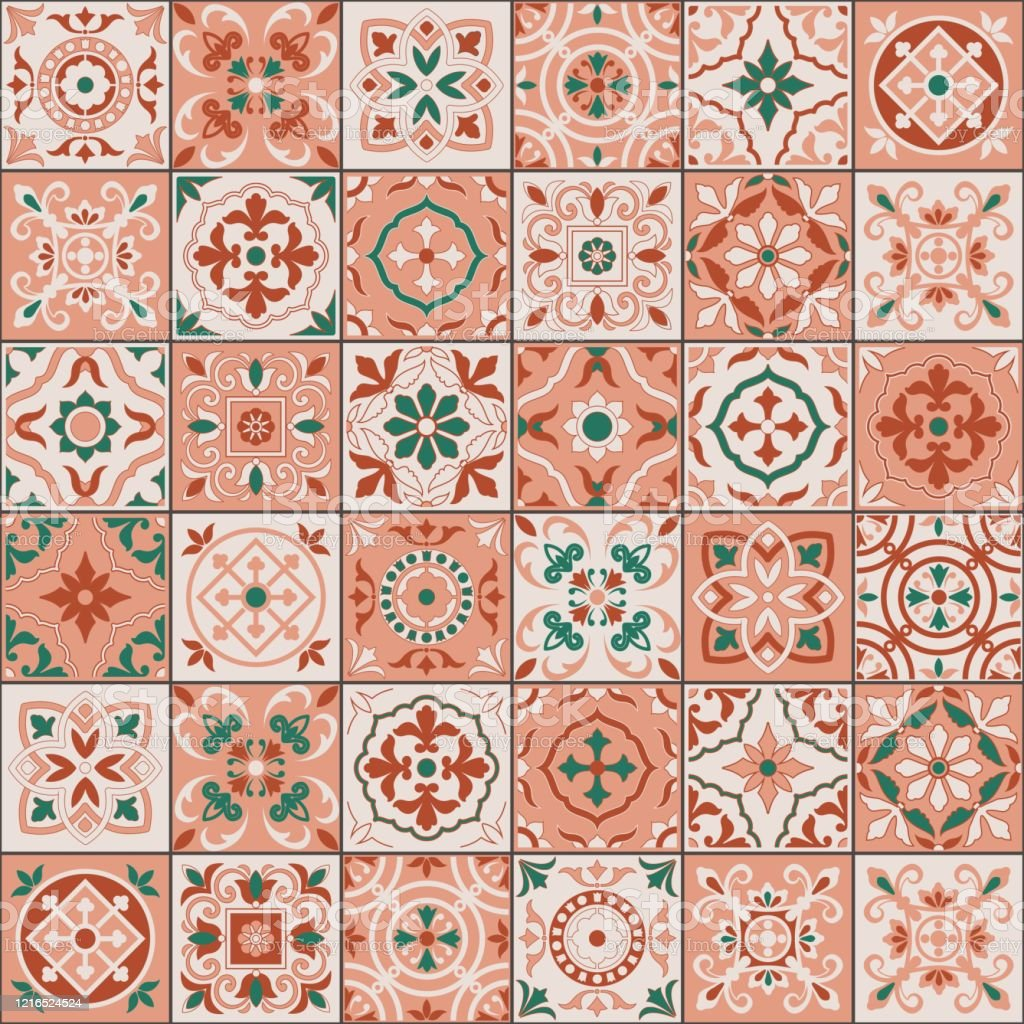 ミックスモロッコタイルアズレージョスの装飾品から地中海シームレスなパターン壁紙パターン塗りつぶしウェブページの背景表面テクスチャに使用することができますベクト アラビア風のベクターアート素材や画像を多数ご用意 Istock