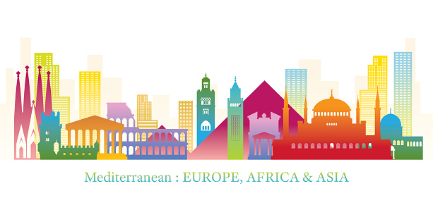 Mediterranean Skyline Landmarks Colorful Silhouette