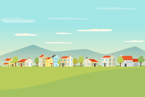 Mediterranean town with houses