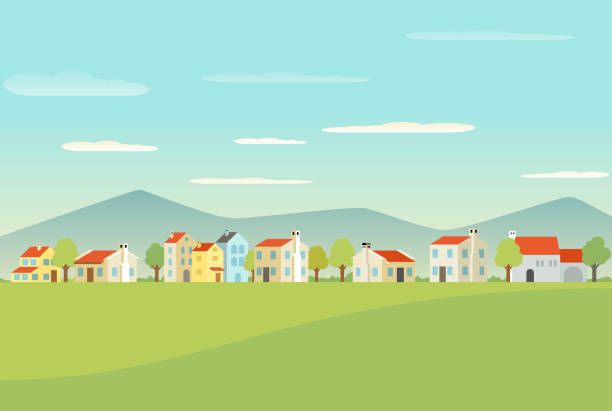 Mediterranean town with houses A mediterranean town with houses in vector village stock illustrations