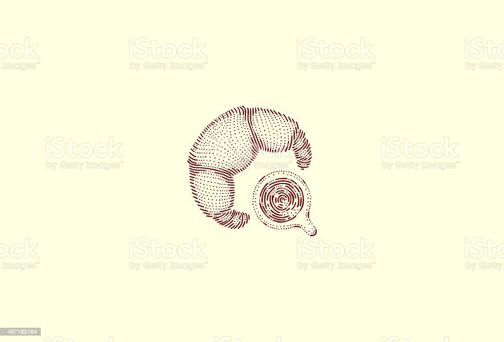 Medium croissant and coffee vector art illustration