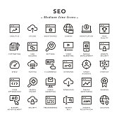 SEO - Medium Line Icons - Vector EPS 10 File, Pixel Perfect 30 Icons.