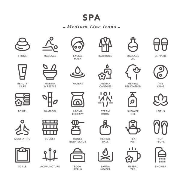 spa - medium line icons - massage stock illustrations
