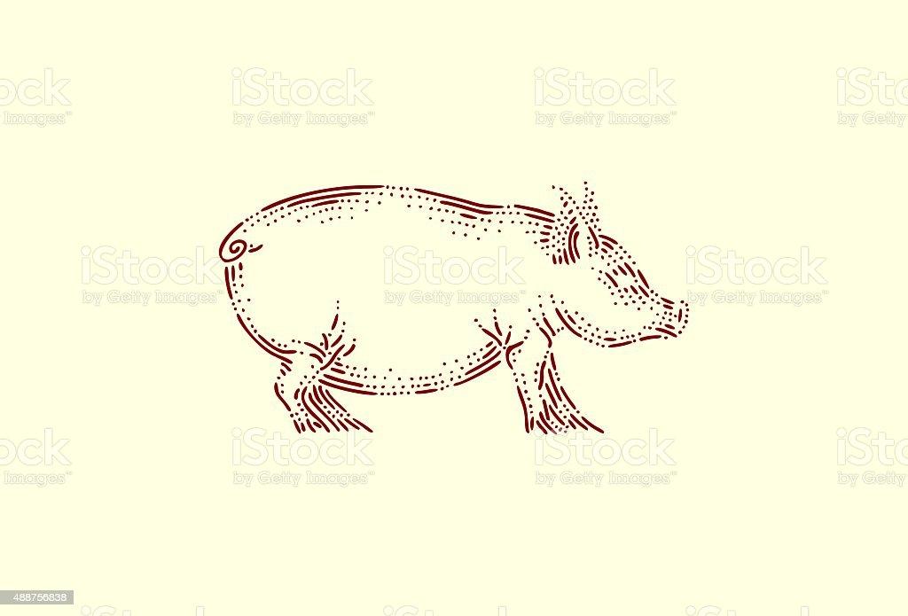Medium pig vector art illustration