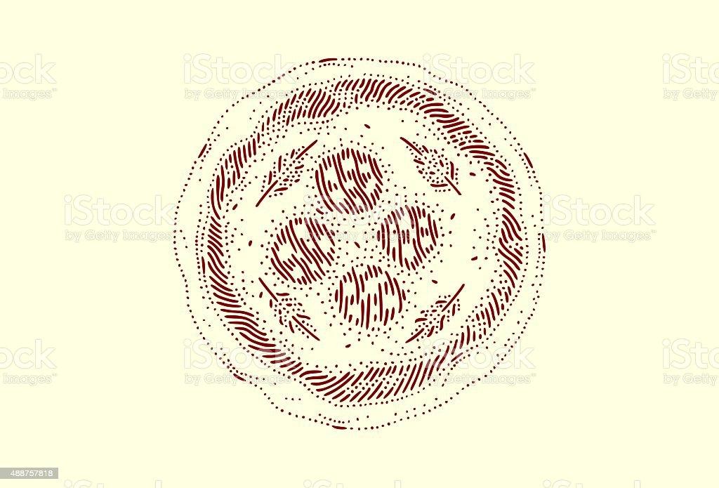 Medium pizza with salami vector art illustration