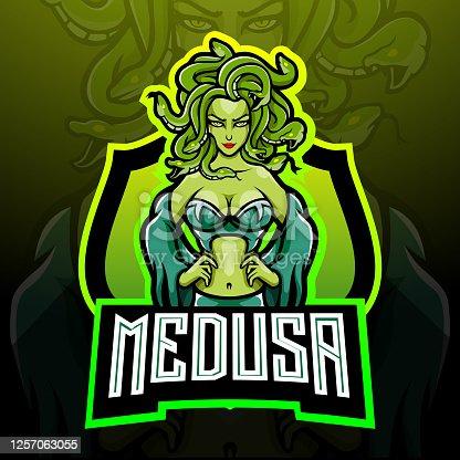 Medusa esport logo mascot design