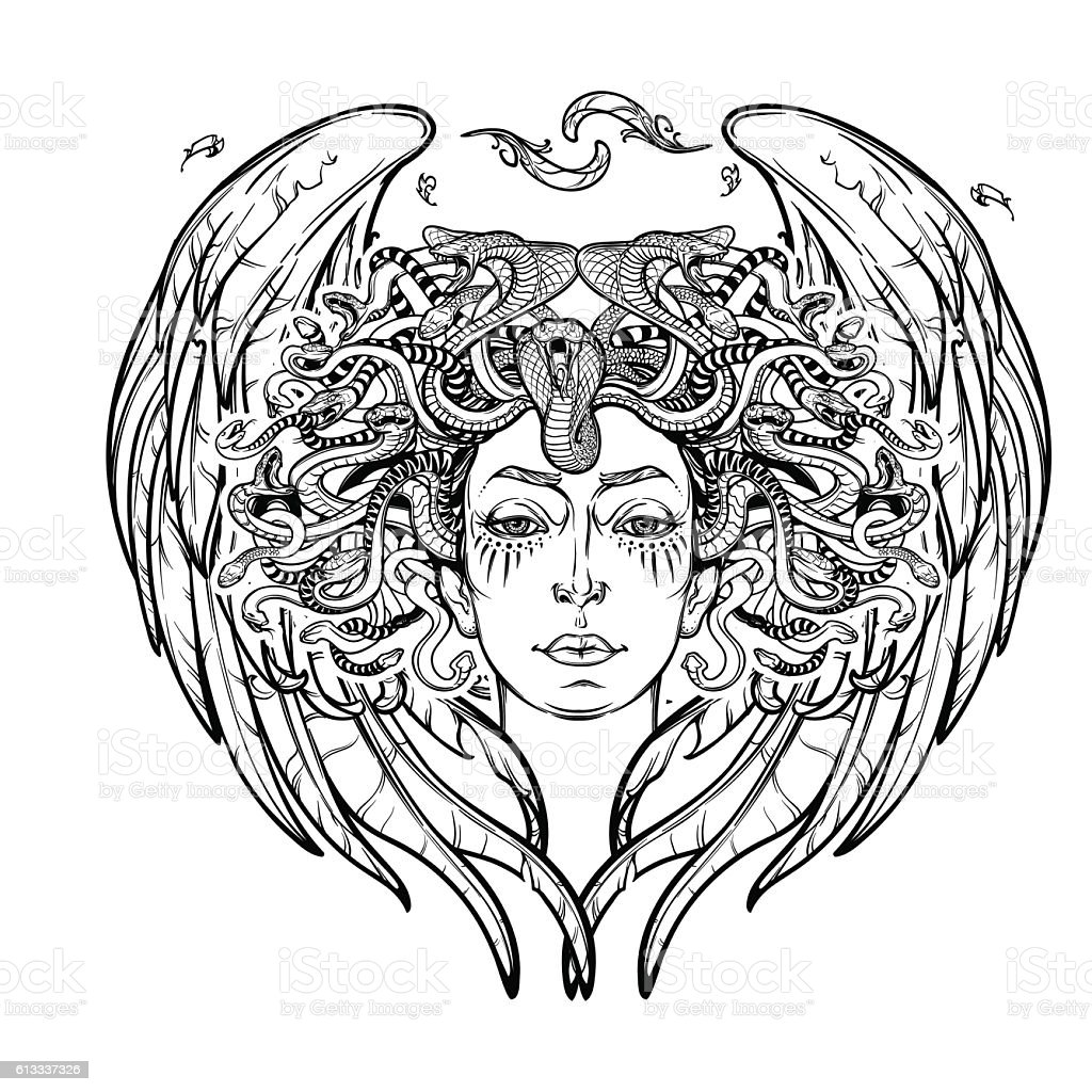 Medusa Gorgon BW sketch vector art illustration