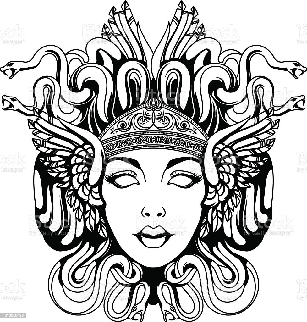Medusa gorgon portrait vector art illustration