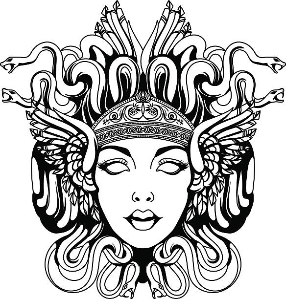 medusa gorgon portrait - snakes tattoos stock illustrations, clip art, cartoons, & icons