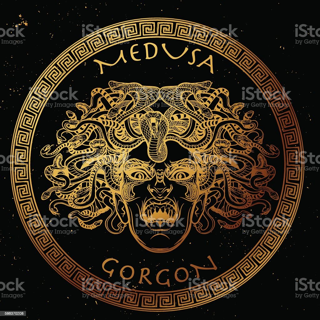 Medusa Gorgon sketch. Gold on black. vector art illustration