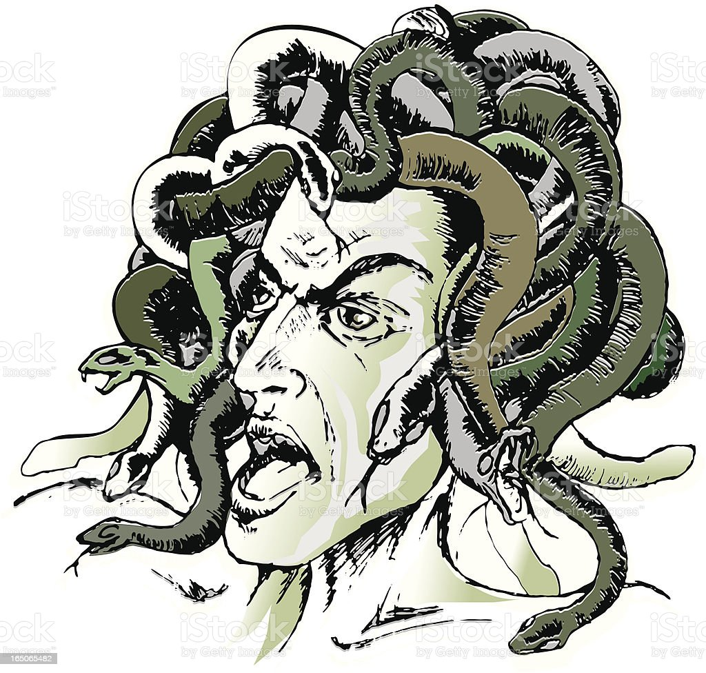 medusa head comic style vector art illustration