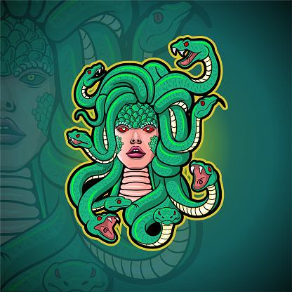 Medusa mascot esport logo design.