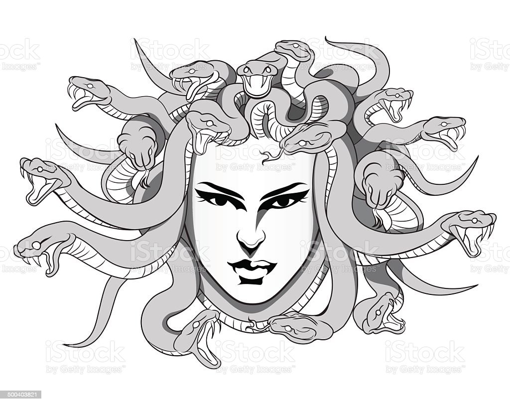 Medusa vector stock vector art more images of adult 500403821 istock - Dessin de meduse ...