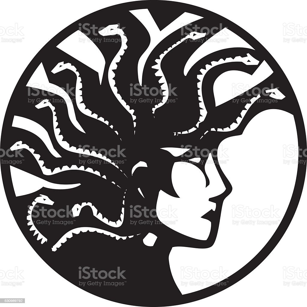 Medusa With Mohawk vector art illustration