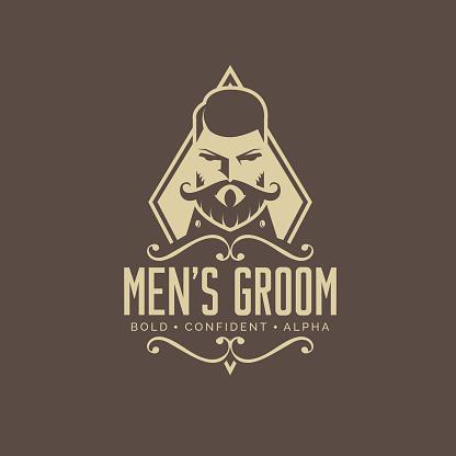 Meen's groom logo design. vintage