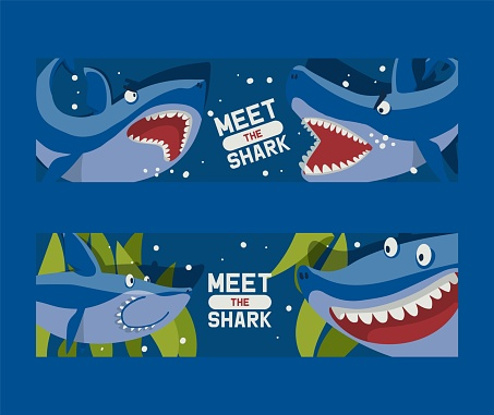 Meet big sharks set of banners vector illustration. Cartoon beautiful coral reef and fishes in blue sea background. Underwater nature and marine wildlife. Seaweed and plants.