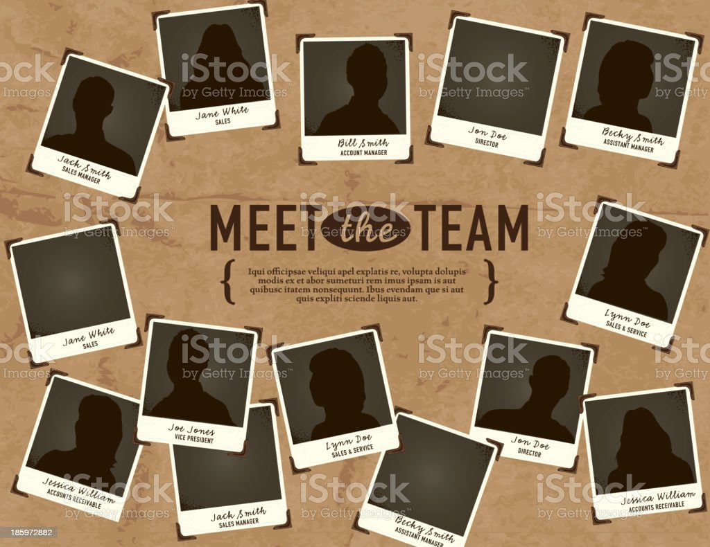 'Meet the Team' portrait concept template vector art illustration