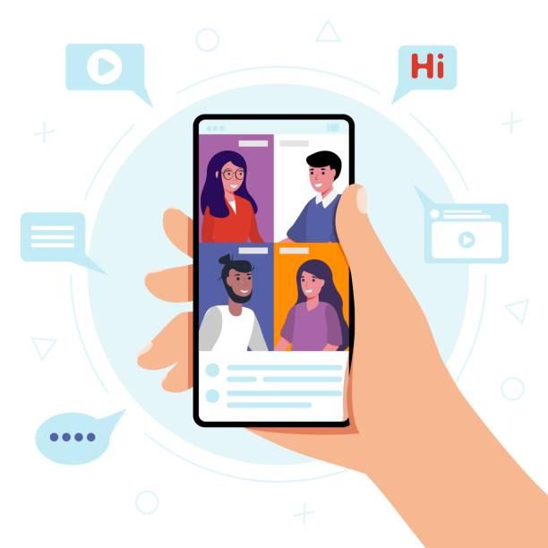ilustraciones, imágenes clip art, dibujos animados e iconos de stock de conocer una empresa a través de una videoconferencia en un teléfono móvil - zoom meeting