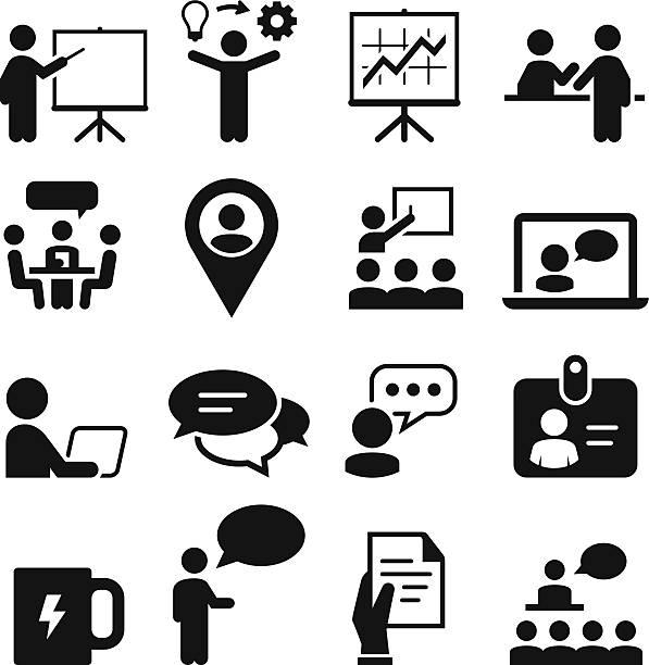 tagungs- und seminar-icons-schwarz-serie - hochschulgetränke stock-grafiken, -clipart, -cartoons und -symbole