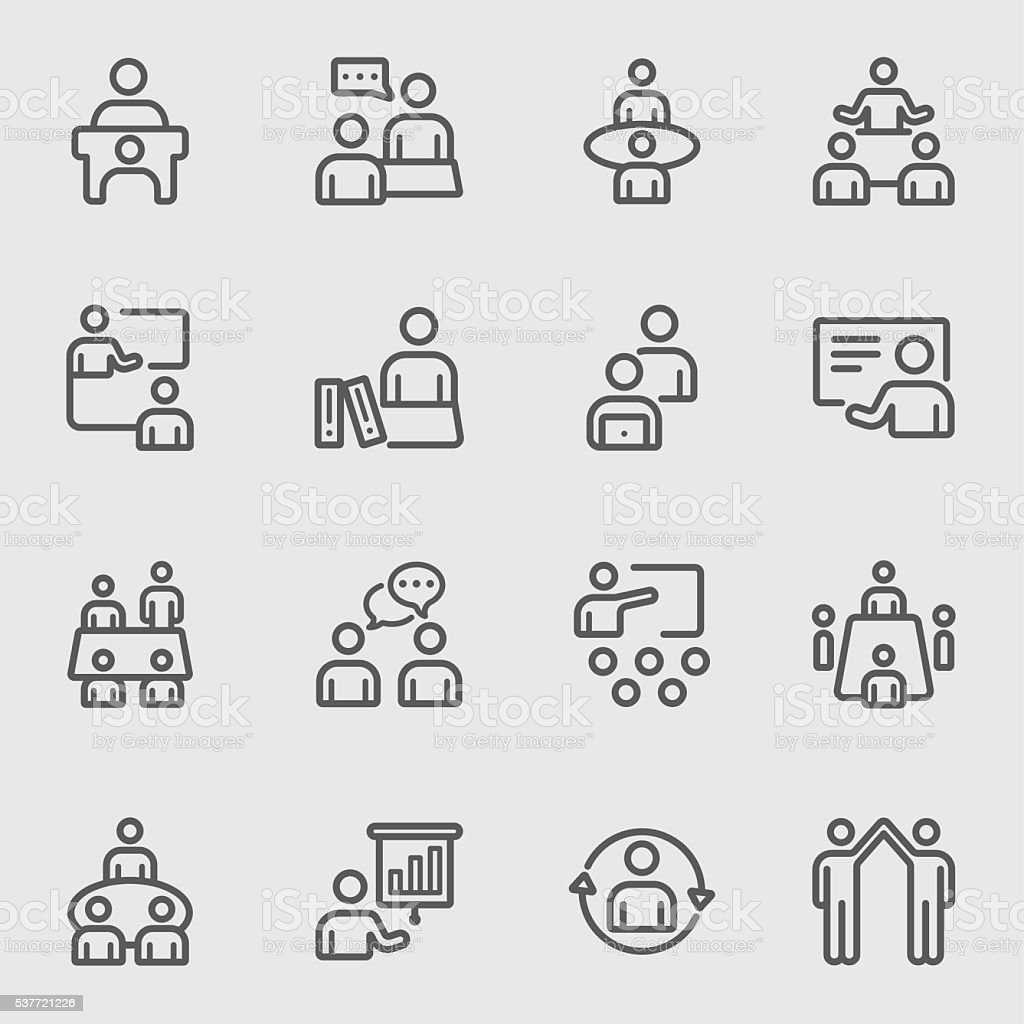 Meeting and Training line icon vector art illustration