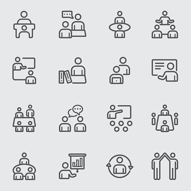 meeting and training line icon - language class stock illustrations