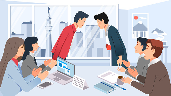 meeting business cooperation with japan, people gathering in meeting room and giving greeting illustration