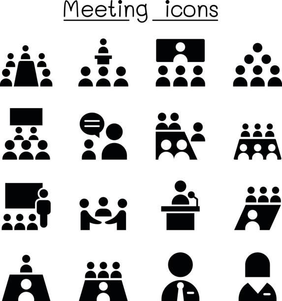 ilustrações, clipart, desenhos animados e ícones de ícones de reunião e conferência - ceo