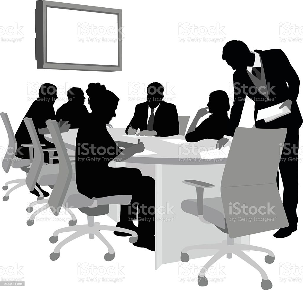 Meeting Distributing Papers vector art illustration