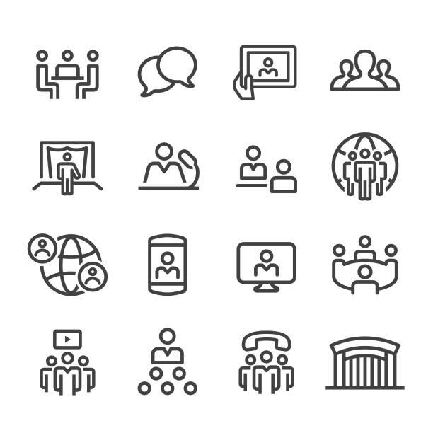 会議アイコン - ライン シリーズ - 会議室点のイラスト素材/クリップアート素材/マンガ素材/アイコン素材