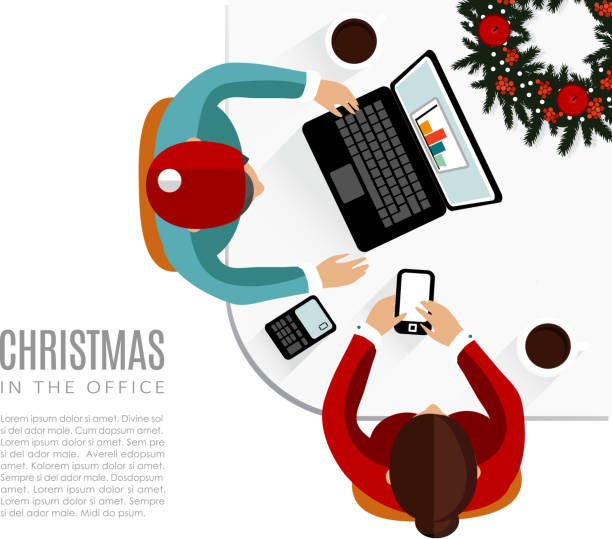 meeting im büro, flat-design, vektor, weihnachten - firmenweihnachtsfeier stock-grafiken, -clipart, -cartoons und -symbole