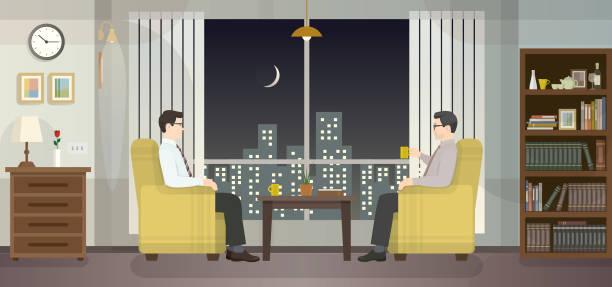 ilustrações, clipart, desenhos animados e ícones de reunião no escritório, ampla janela com vista cidade - salas de aula