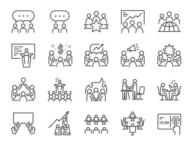 ilustraciones, imágenes clip art, dibujos animados e iconos de stock de conjunto de iconos de línea de reunión. incluye iconos como sala de reuniones, equipo, trabajo en equipo, presentación, idea, lluvia de ideas y más. - señal