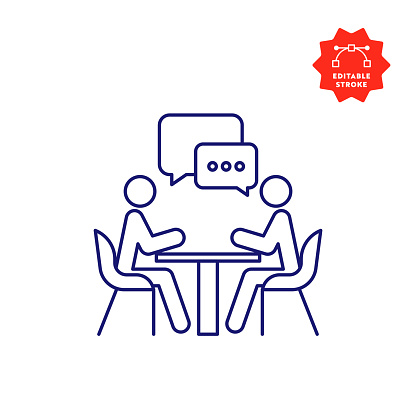 Meeting Line Icon with Editable Stroke and Pixel Perfect.