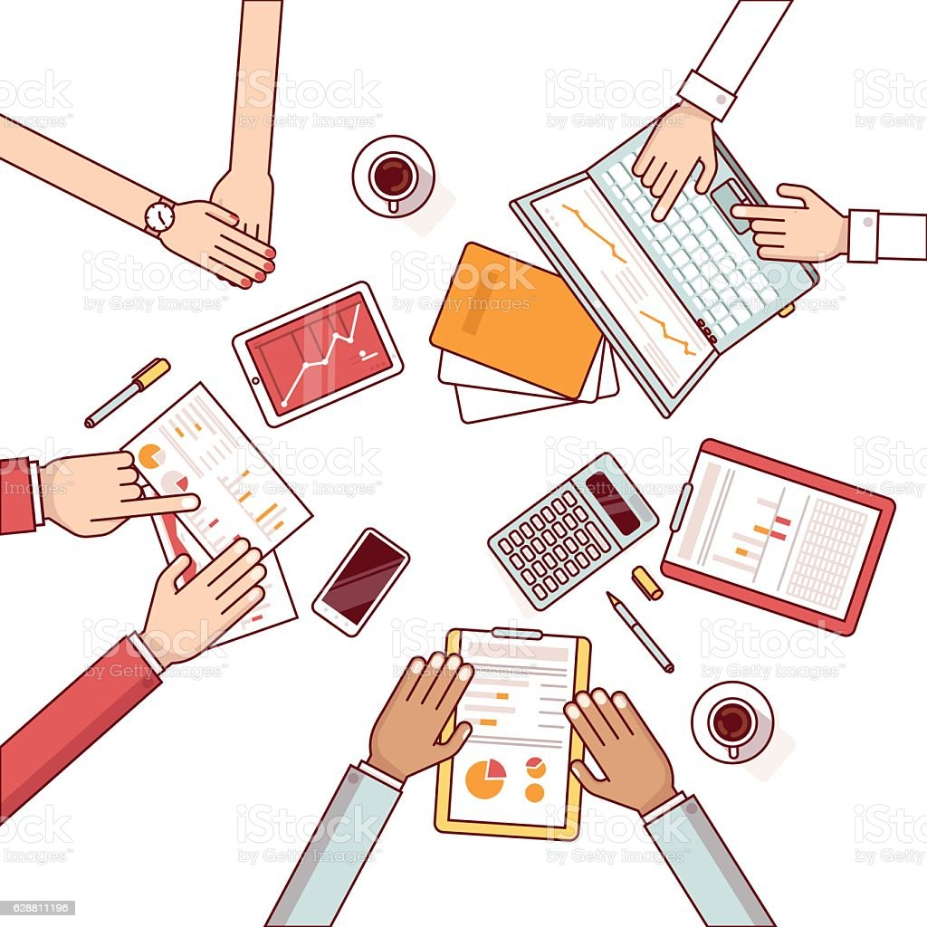 Meeting of business man group vector art illustration