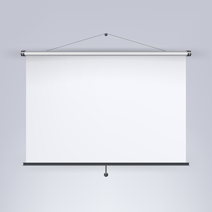 Meeting Projector Screen Vector Blank White Board