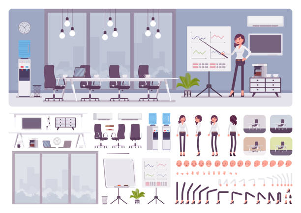 meeting room in business center office, female manager creation set - office stock illustrations