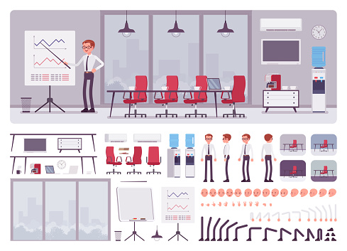 Meeting room in business center office, male manager creation set
