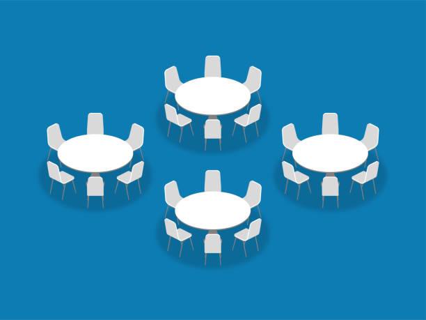 ilustrações de stock, clip art, desenhos animados e ícones de meeting room setup layout configuration banquet rounds isometric style illustration, perspective 3d with shadow on blue color background - muita comida