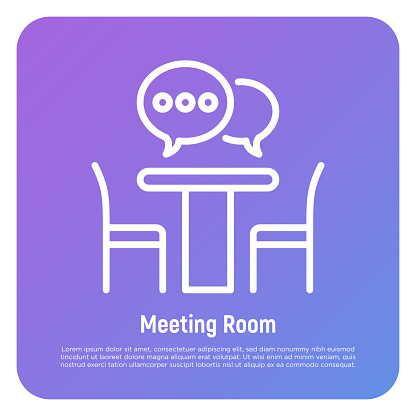 Meeting room thin line icon: office desk, chairs and speech bubbles. Teamwork, brainstorming, communication, cooperation. Vector illustration.