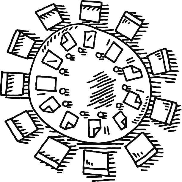 illustrazioni stock, clip art, cartoni animati e icone di tendenza di riunione tavolo rotondo di disegno - business meeting, table view from above