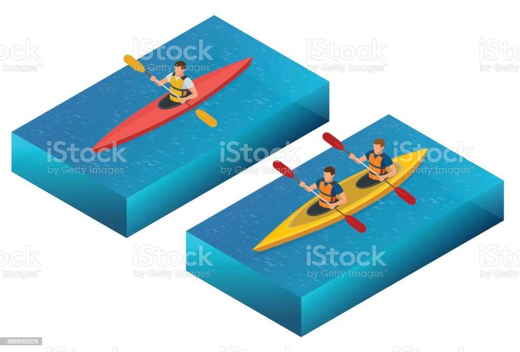 Meeting sunset on kayaks. Rear view of young couple kayaking on lake together with sunset in the backgrounds vector art illustration