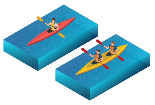 meeting sunset on kayaks. rear view of young couple kayaking on lake together with sunset in the backgrounds - kayaking stock illustrations, clip art, cartoons, & icons