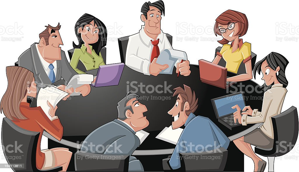 Meeting table with cartoon business people royalty-free stock vector art