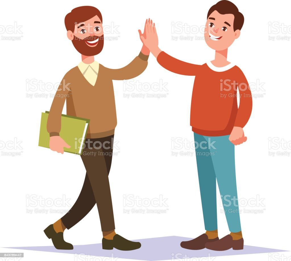 Meeting two businessmen and business handshake vector art illustration
